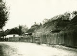 Ukraine, houses with thatched roofs along road
