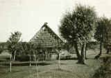 Poland, house with woven fence and thatched roof