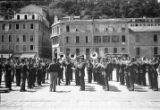 France, military band playing in plaza in Nice