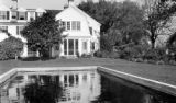United States, house at Lewis Farm from pool in Plimptonville neighborhood of Walpole