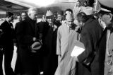 United States, King Muhammad V being welcomed at airport on state visit