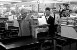 United States, King Muhammad V at grocery store during state visit