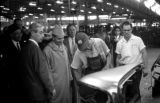 United States, King Muhammad V inspecting General Motors plant in Arlington
