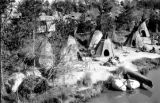 United States, teepees at Disneyland Indian Village attraction in Anaheim