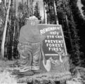 United States, Smokey the bear sign at Yellowstone National Park
