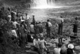 United States, people gathered at Tahquamenon Falls in Michigan