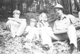 United States, Bobby and Nancy Platt with friends on woodland trail