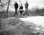 Norfolk (Massachusetts), men seated on picnic table at Blue Hills Reservation