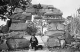 Arizona, Sandra Forman and dog at Hermits Rest, Grand Canyon