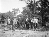 Limestone County (Texas), group at gas well