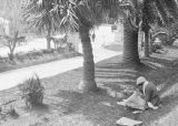 United States, Ethel Herzfeld sitting on lawn near walkway