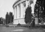 United States, Ethel Herzfeld near round colonnade