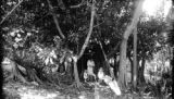 Cuba, Harriet Platt and her children under large ficus in Mariel