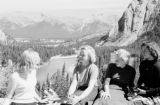 Canada, four women on overlook in Alberta