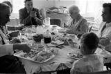 Canada, family sitting at table for meal in Halifax