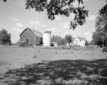 United States, house and barn on farm in Huntley