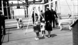 United States, Harriet Platt with her children on ship deck off New York coast