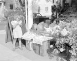 United States, girl at meat market store in Rockport