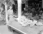 United States, woman at meat market store in Rockport