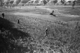 Yanan (China), people walking through field