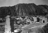 Yan'an (China), war damaged village burned by Japanese