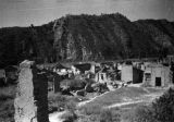 Yanan (China), war damaged village burned by Japanese