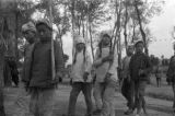Yanan (China), children of People's Militia holding spears and swords