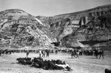 Yan'an (China), people and livestock gather at base of mountainside village