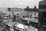 Shanghai (China), rooftop view of bomb damaged buildings