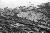 Shanghai (China), aerial view of sampans and people in Huangpu Park