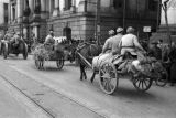 Shanghai (China), soldiers horse drawn wagons with supplies