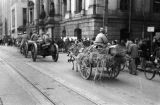 Shanghai (China), soldier riding wagon with hay and troughs for horses