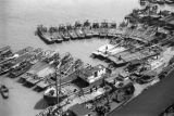 Shanghai (China), sampans docked on riverfront