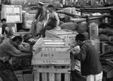 Shanghai (China), laborers moving crate on loading dock