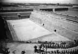 China, aerial view of tennis court