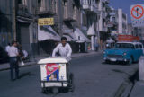 Tehran (Iran), man with ice cream cart on residential street