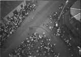 Shanghai (China), aerial view of people in street