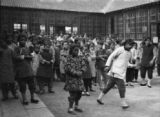 China, school children gathered in courtyard