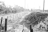 Shanghai (China), barbed wire trench on side of road