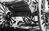 China, underside of wooden wagon