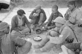 Shaanxi province (China), soldiers eating nuts and playing cards