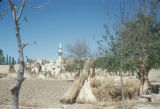 Syria, temporary huts around a village