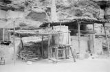 Yanchang (China), structure with wooden barrel at communist-run oil well