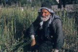Esfahan province (Iran), man kneeling in grass