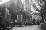 Shanghai (China), armored vehicles in front of Holy Trinity Anglican Church