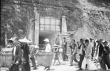 Hong Kong (China), people walking past air raid shelter