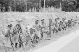 Malaysia, Malay troopers at side of road during the Malayan Emergency
