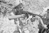 Malaysia, Malay trooper aiming his machine gun during Malayan Emergency