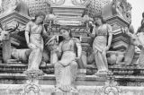 Singapore, close-up of idols on exterior of the Sri Mariamman Temple