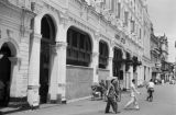 Singapore, street scene in front of barricaded John Little department store